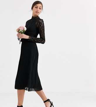 TFNC Tall Bridesmaid high neck long sleeve pleated midi dress with lace inserts in black