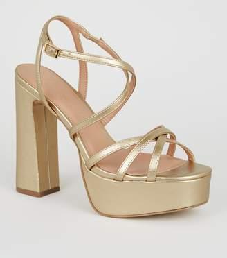 New Look Leather-Look Strappy Platform Heels