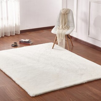 Korte Plush Rabbit Skin Off White Area Rug Orren Ellis