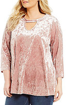 Bobeau Plus Crushed Velvet Keyhole Blouse