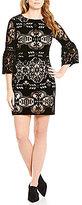 Eliza J Velvet Illusion Bell Sleeve Shift Dress