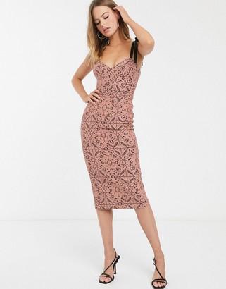 Asos Design DESIGN geo lace structured pencil midi dress with grosgrain straps-Beige