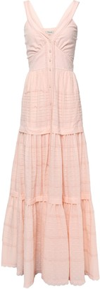 Temperley London Beaux Tie-back Pintucked Swiss-dot Cotton Maxi Dress