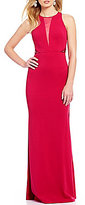 Dear Moon High Neck Illusion-Inset Beaded Cut-Out Back Long Dress