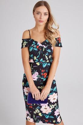 Girls On Film Pose Floral-Print Foldover Bardot Midi Dress