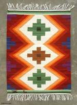 Wool Area Rug (2x2.5), 'Inca Cross'