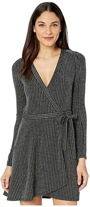 BCBGMAXAZRIA V-Neck Knit Wrap Dress (Black Combo) Women's Clothing