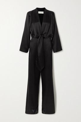 Mason by Michelle Mason Tie-front Silk-satin Jumpsuit - Black