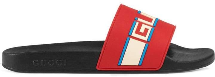 Gucci stripe rubber slide sandals