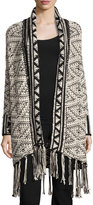 Willow & Clay Fringe-Trimmed Aztec Cardigan, Ivory