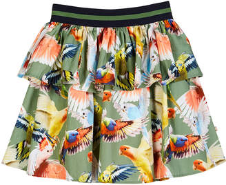 Molo Brianna Tiered Woven Budgies Print Skirt, Size 3T-12