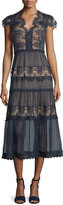 Catherine Deane Cap-Sleeve Tiered Lace Midi Dress, Dark Navy/Almond