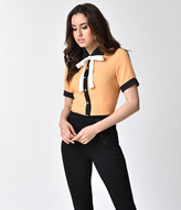Unique Vintage 1940s Style Mustard Yellow Button Up Short Sleeve Tie Blouse