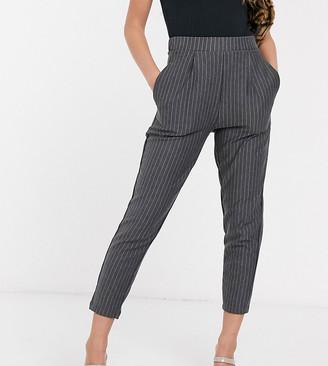 New Look Petite paperbag waist coord trouser in grey pinstripe