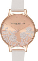 Olivia Burton OB16MV53 Floral lace dial rose gold-plated and leather watch