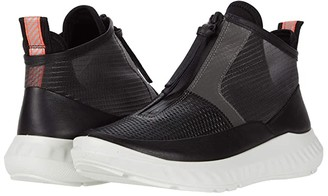 Ecco ST.1 Lite Mid Cut Zip Sneaker (Black Cow Leather) Women's Shoes