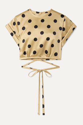 Orseund Iris Le Club Cropped Polka-dot Satin Top - Beige