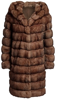 The Fur Salon Hooded Sable Fur Long Coat