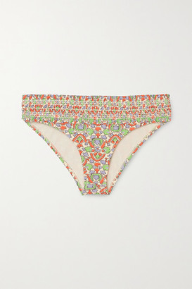 Tory Burch Costa Shirred Printed Bikini Briefs - Green