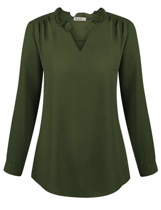 Moyabo Casual Women Blouses Tops Plus Size Business V Neck Long Sleeve Chiffon T-Shirts Army Green X-Large