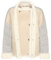 Chloé Leather And Shearling-trimmed Knitted Jacket