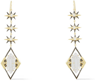 Noir Gold And Gunmetal-tone Crystal Earrings