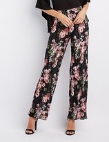 Charlotte Russe Floral Micro Pleated Palazzo Pants