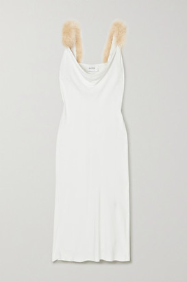 Sleeper Feather-trimmed Draped Voile Midi Dress - White