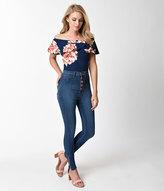 Unique Vintage Retro Style Blue Denim High Waist Button Down Skinny Jeans Pants