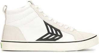 Cariuma CATIBA High Stripe Off White Suede and Canvas Black Logo Sneaker