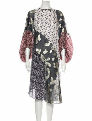 Biyan Floral Patchwork Midi Length Dress Blue