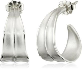 """Zina Sterling Silver """"Leaf"""" Small Hoop Drop Earrings"""