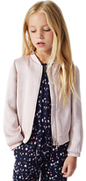 Jigsaw Girls' Crocus Drape Bomber Jacket, Pale Pink