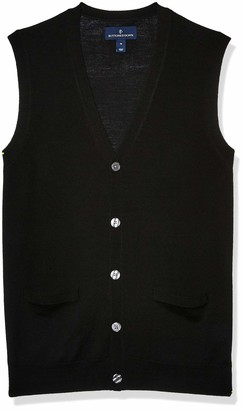 Buttoned Down Italian Merino Wool Lightweight Cashwool Button-front Vest Sweater