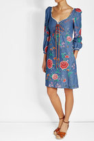 Roberto Cavalli Embroidered Denim Lace-Up Dress