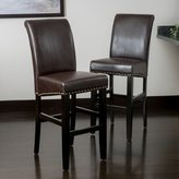 Christopher Knight Home Lisette Leather Bar Stool (Set of 2)