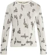 Saint Laurent Cross-stitch cashmere-blend sweater