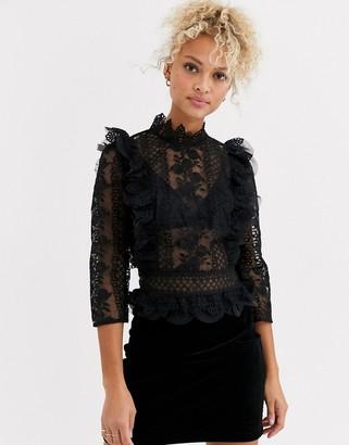Chi Chi London premium lace top in black