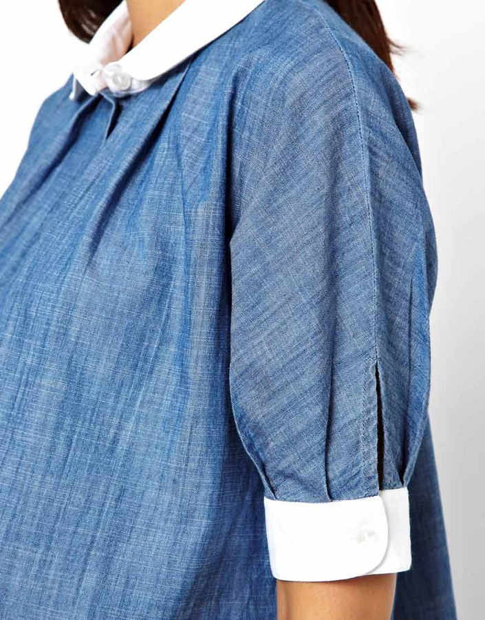 Asos Shirt in Chambray with Contrast Collar
