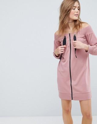 Asos Design Off Shoulder Sweat Dress with Zips & Tie Details-Pink