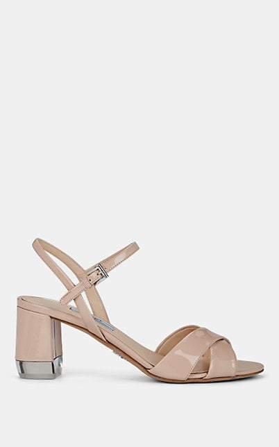 Prada Women's Patent Leather Ankle-Strap Sandals - Cipria