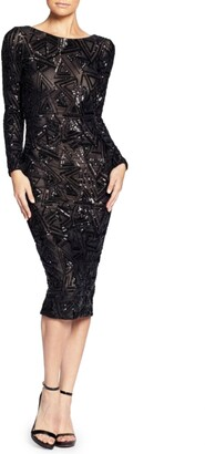 Dress the Population Emery Long Sleeve Sequin Cocktail Dress