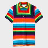 Paul Smith Men's Multi-Colour Mesh Stripe Polo Shirt