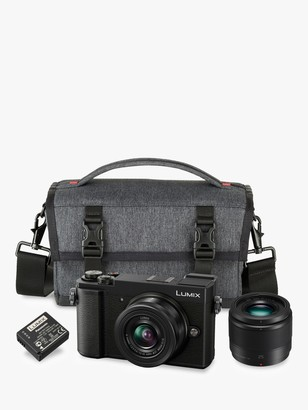 Panasonic Lumix DC-GX9 Compact System Camera with 12-32mm IS Lens & 25mm Lens, 3x Optical Zoom, 4K Ultra HD, 20.3MP, Wi-Fi, Bluetooth, Tiltable EVF, 3 Tiltable Touch Screen, Black, Double Lens Kit with Camera Bag & Additional Battery