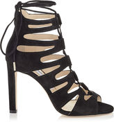 Jimmy Choo HITCH 100 Black Suede Strappy Sandals