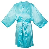 Cathy Monogram Bridesmaid Aqua Satin Robe