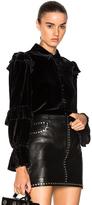 Frame Velvet Victorian Ruffle Blouse in Black.