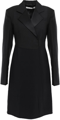 Victoria Beckham Satin-trimmed Wool And Mohair-blend Crepe Mini Dress
