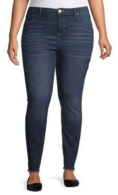 Design Lab Plus Raw-Edge Skinny Jeans