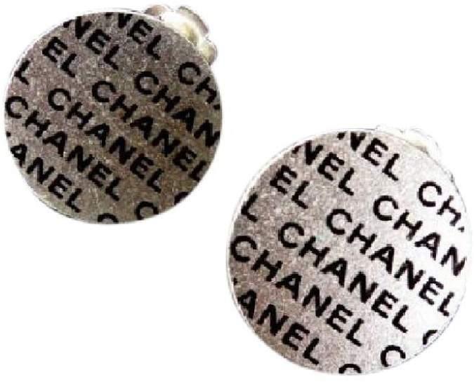 Chanel CC Cambon Silver Tone Metal Earrings